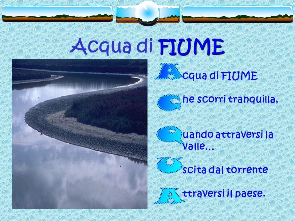 FIUME Acqua di FIUME cqua di FIUME he scorri tranquilla, uando attraversi la valle… scita dal torrente ttraversi il paese.