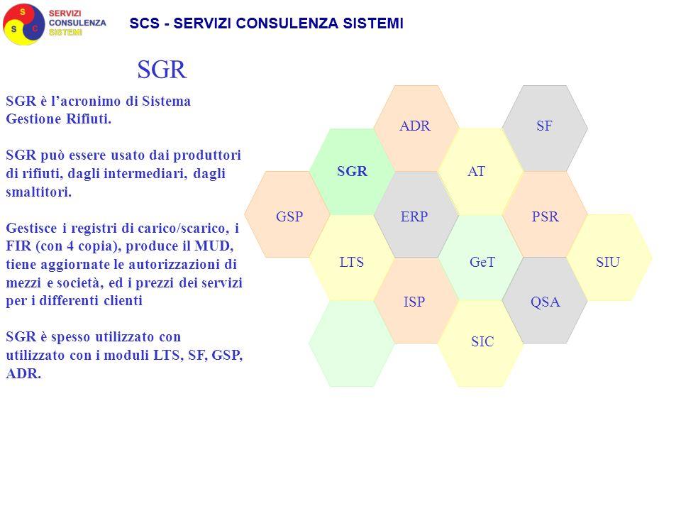 SGR ADR SIC GeT AT LTS GSPPSRERP QSAISP SGR SF SGR è lacronimo di Sistema Gestione Rifiuti. SGR può essere usato dai produttori di rifiuti, dagli inte