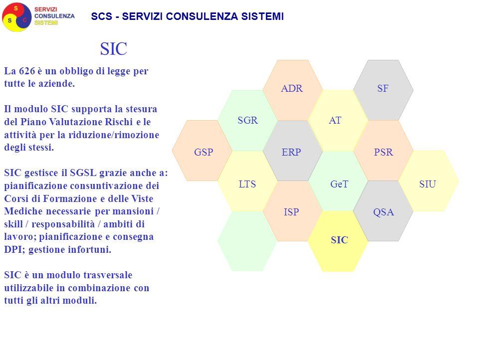 SGR ADR SIC GeT AT LTS GSPPSRERP QSAISP SIC SF La 626 è un obbligo di legge per tutte le aziende. Il modulo SIC supporta la stesura del Piano Valutazi