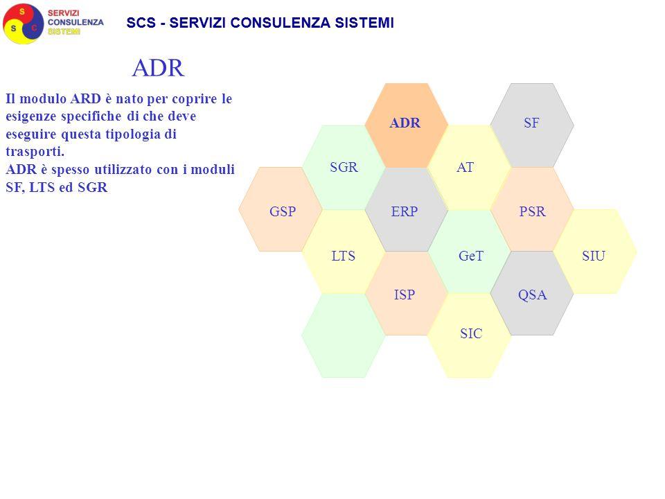 SGR ADR SIC GeT AT LTS GSPPSRERP QSAISP ADR Il modulo ARD è nato per coprire le esigenze specifiche di che deve eseguire questa tipologia di trasporti