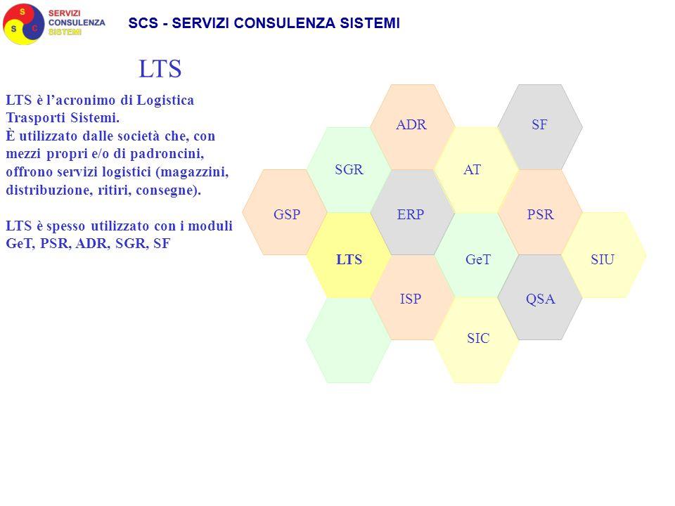 SGR ADR SIC GeT AT LTS GSPPSRERP QSAISP LTS SF LTS è lacronimo di Logistica Trasporti Sistemi. È utilizzato dalle società che, con mezzi propri e/o di