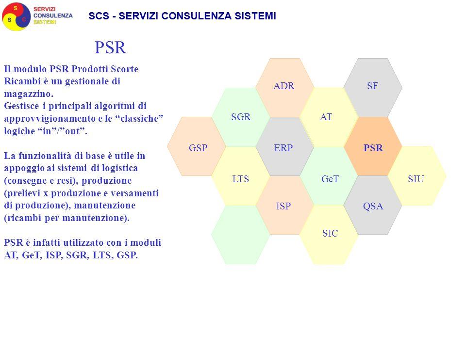 SGR ADR SIC GeT AT LTS GSPPSRERP QSAISP PSR SF Il modulo PSR Prodotti Scorte Ricambi è un gestionale di magazzino. Gestisce i principali algoritmi di