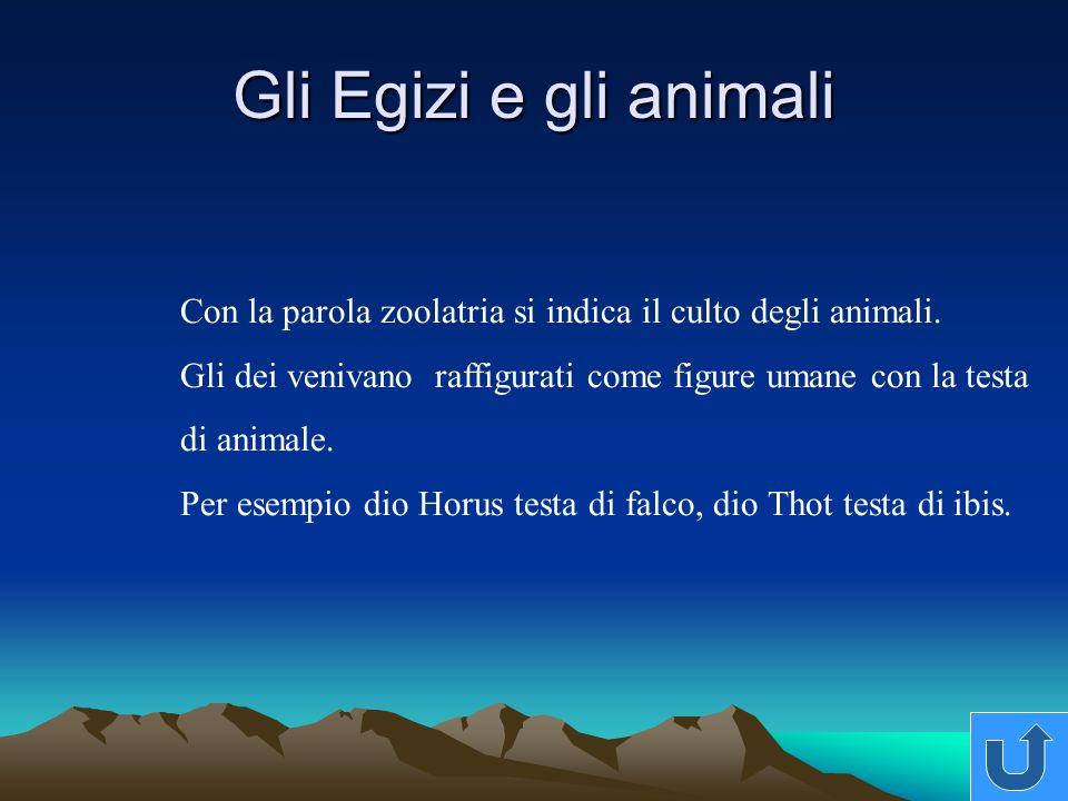 Gli Egizi e gli animali Con la parola zoolatria si indica il culto degli animali.