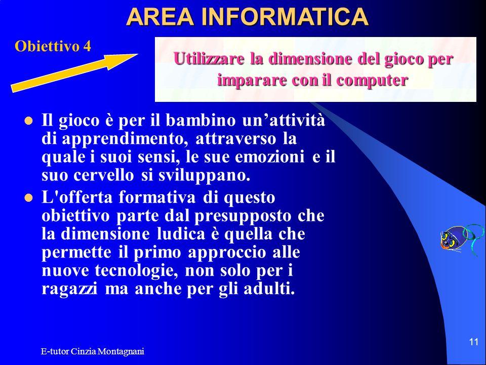 E-tutor Cinzia Montagnani 11 Il gioco è per il bambino unattività di apprendimento, attraverso la quale i suoi sensi, le sue emozioni e il suo cervell