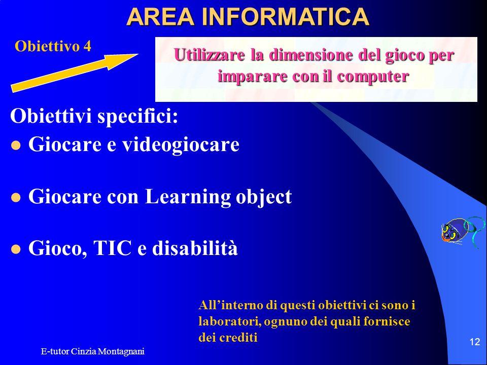 E-tutor Cinzia Montagnani 12 Obiettivi specifici: Giocare e videogiocare Giocare con Learning object Gioco, TIC e disabilità AREA INFORMATICA Obiettiv