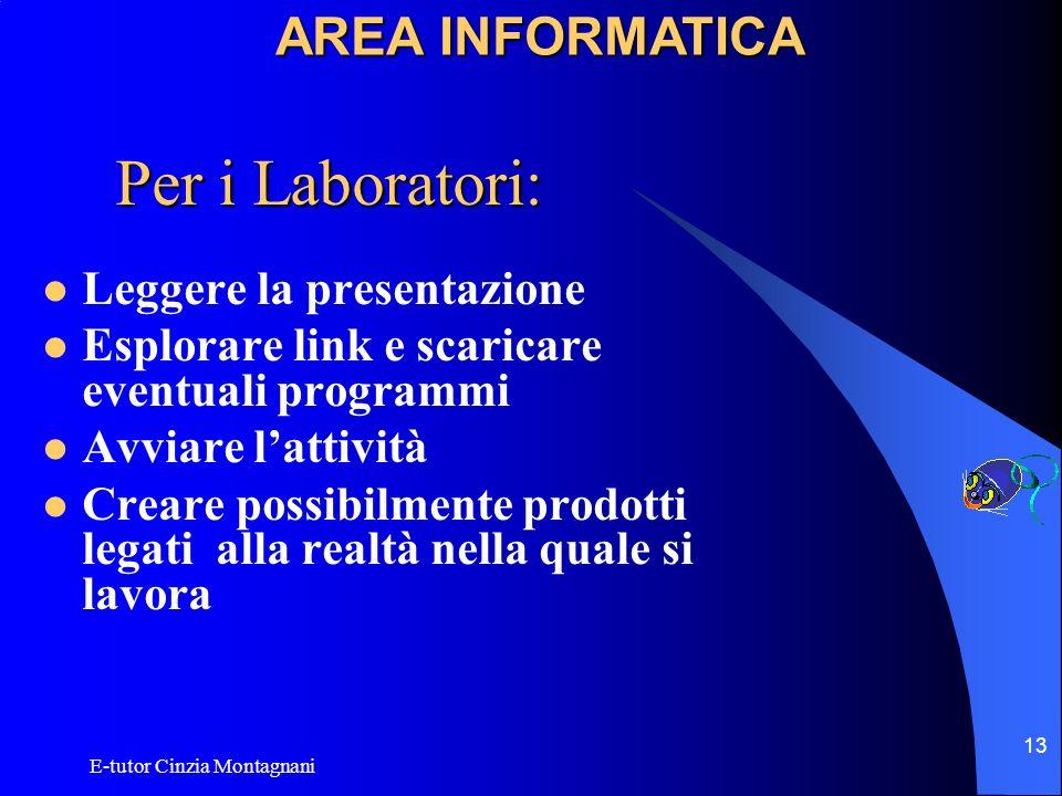 E-tutor Cinzia Montagnani 13 Per i Laboratori: Leggere la presentazione Esplorare link e scaricare eventuali programmi Avviare lattività Creare possib