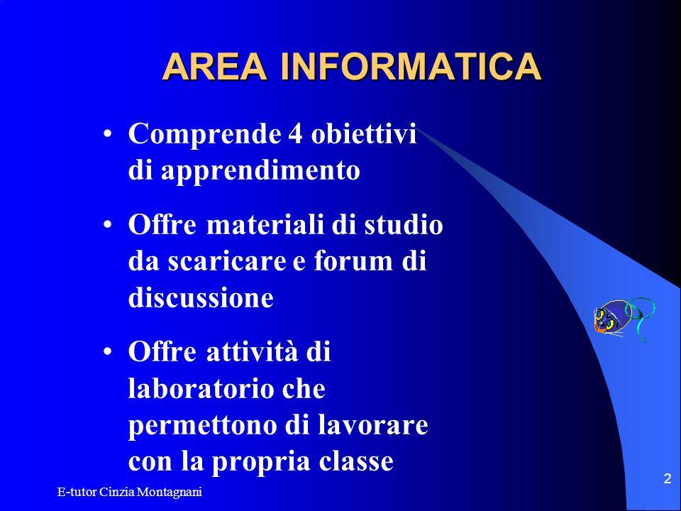 E-tutor Cinzia Montagnani 2 AREA INFORMATICA Comprende 4 obiettivi di apprendimento Offre materiali di studio da scaricare e forum di discussione Offr