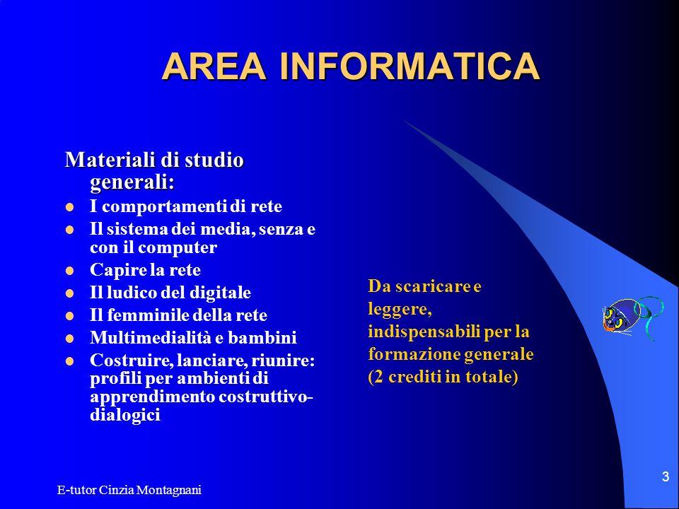 E-tutor Cinzia Montagnani 3 AREA INFORMATICA Materiali di studio generali: I comportamenti di rete Il sistema dei media, senza e con il computer Capir