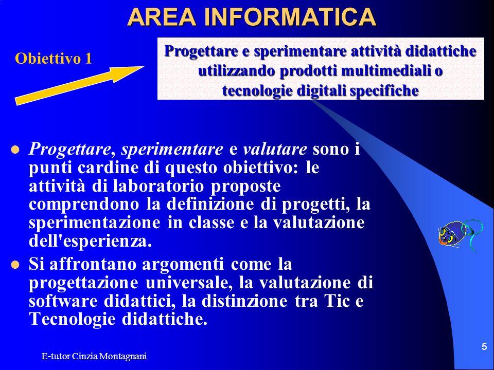 E-tutor Cinzia Montagnani 5 AREA INFORMATICA Progettare, sperimentare e valutare sono i punti cardine di questo obiettivo: le attività di laboratorio