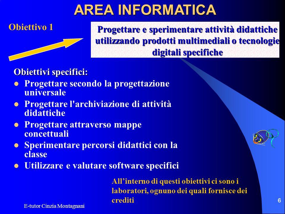E-tutor Cinzia Montagnani 6 Obiettivi specifici: Progettare secondo la progettazione universale Progettare l'archiviazione di attività didattiche Prog