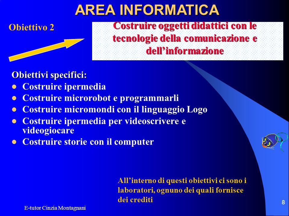 E-tutor Cinzia Montagnani 8 Obiettivi specifici: Costruire ipermedia Costruire microrobot e programmarli Costruire micromondi con il linguaggio Logo C