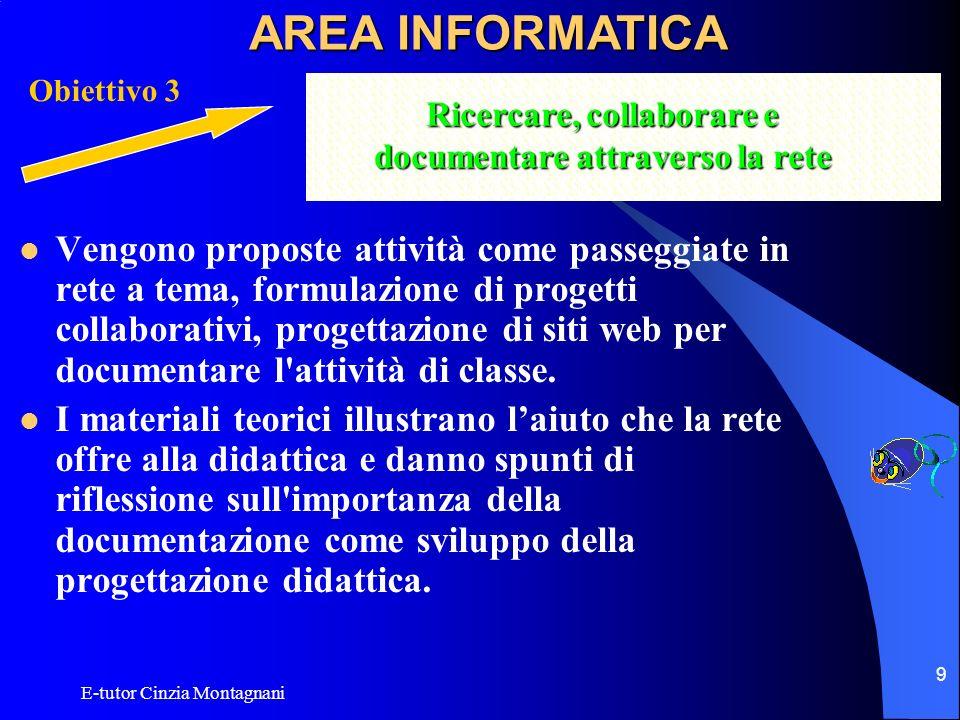 E-tutor Cinzia Montagnani 9 Vengono proposte attività come passeggiate in rete a tema, formulazione di progetti collaborativi, progettazione di siti w