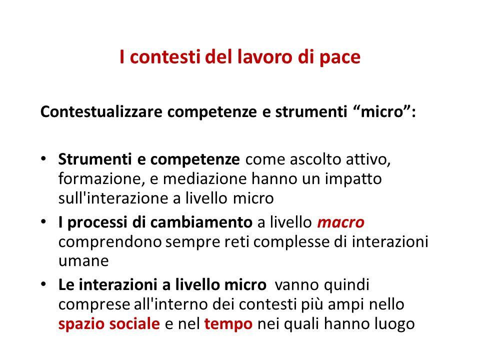 I contesti del lavoro di pace Contestualizzare competenze e strumenti micro: Strumenti e competenze come ascolto attivo, formazione, e mediazione hann