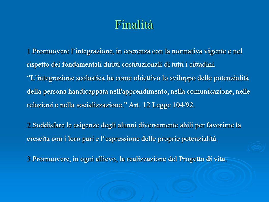 Finalità 1.Promuovere lintegrazione, in coerenza con la normativa vigente e nel rispetto dei fondamentali diritti costituzionali di tutti i cittadini.