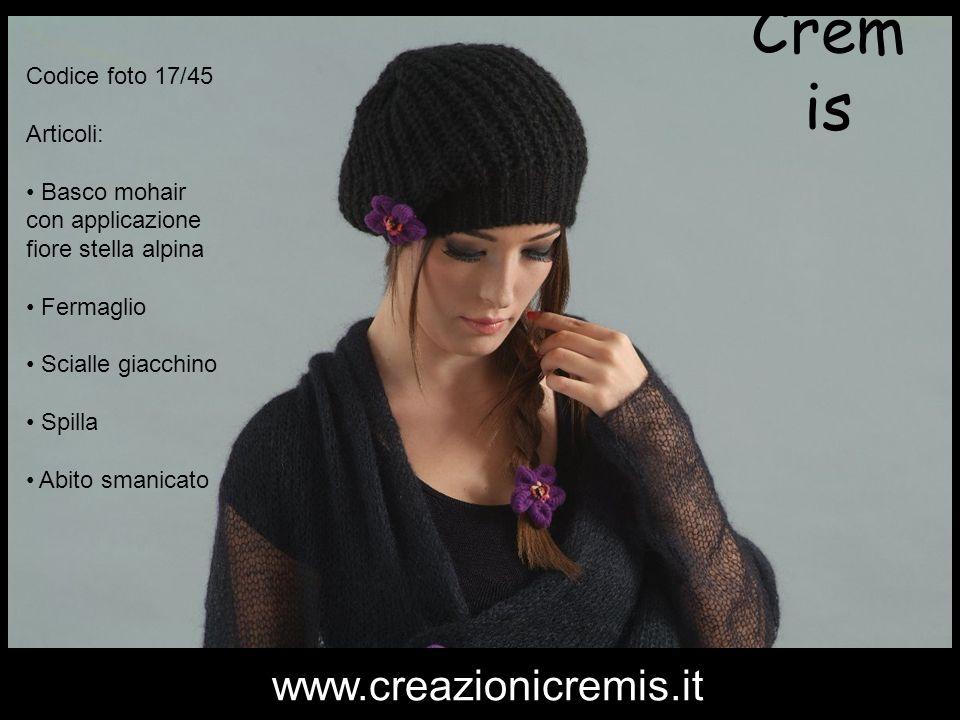 Crem is Codice foto 17/45 Articoli: Basco mohair con applicazione fiore stella alpina Fermaglio Scialle giacchino Spilla Abito smanicato www.creazioni