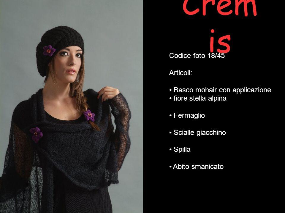 Crem is Codice foto 18/45 Articoli: Basco mohair con applicazione fiore stella alpina Fermaglio Scialle giacchino Spilla Abito smanicato