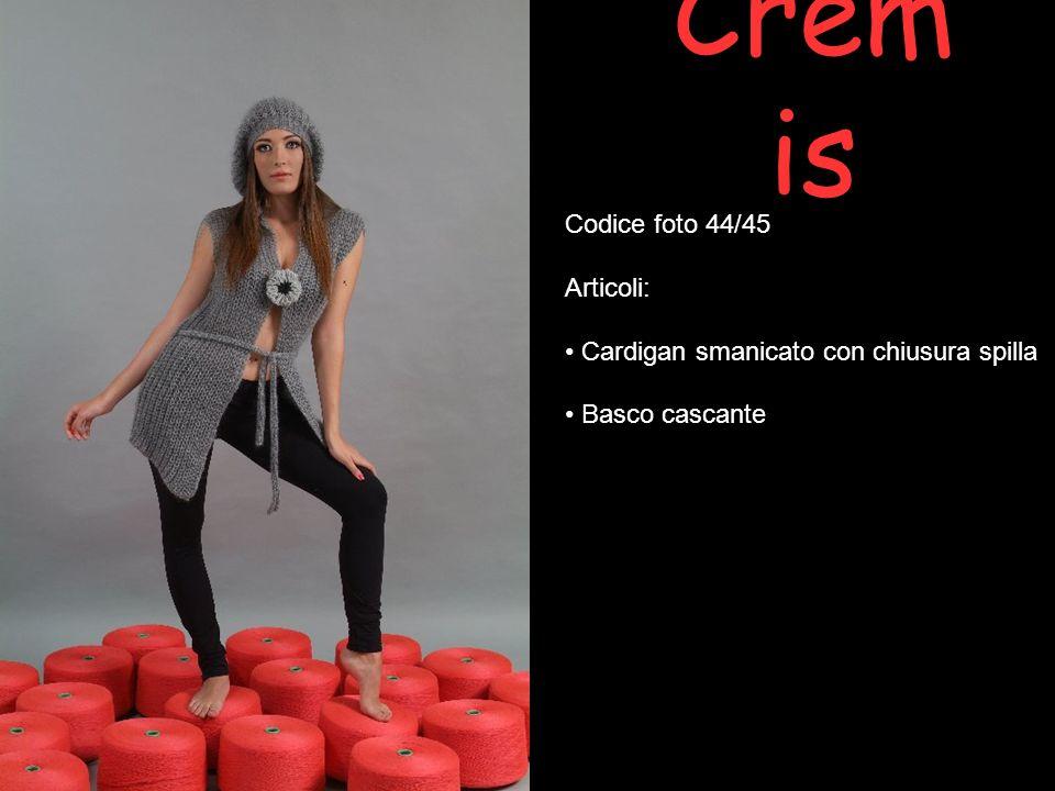 Crem is Codice foto 44/45 Articoli: Cardigan smanicato con chiusura spilla Basco cascante