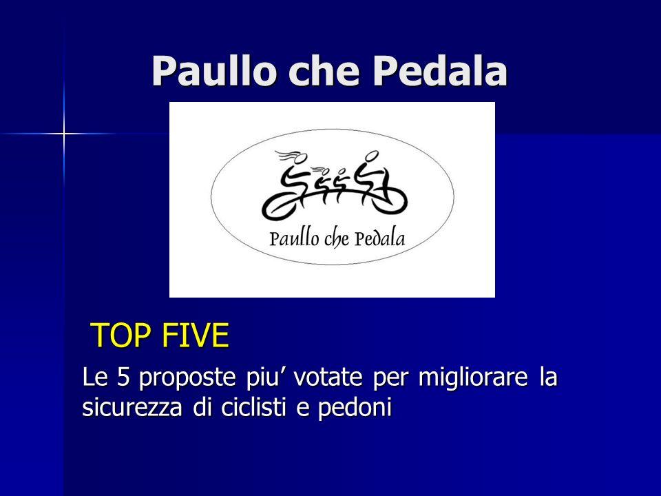 Paullo che Pedala Cosa sono le Top Five Cosa sono le Top Five Le Top Five rappresentano i cinque interventi sulla viabilità più urgenti per migliorare la sicurezza di pedoni e ciclisti.