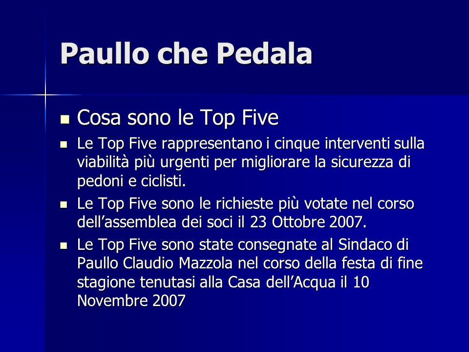 Paullo che Pedala Cosa sono le Top Five Cosa sono le Top Five Le Top Five rappresentano i cinque interventi sulla viabilità più urgenti per migliorare