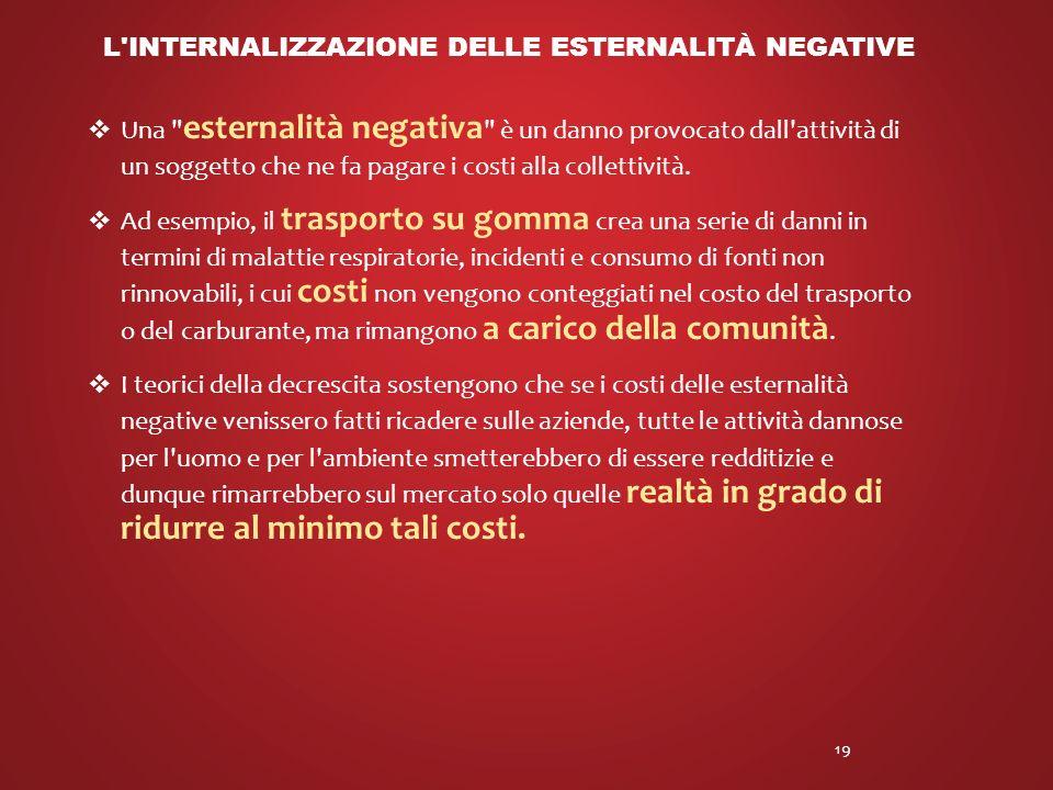 Una esternalità negativa è un danno provocato dall attività di un soggetto che ne fa pagare i costi alla collettività.