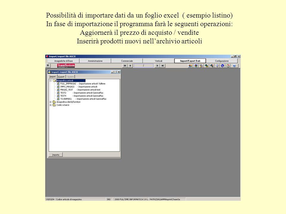 Possibilità di importare dati da un foglio excel ( esempio listino) In fase di importazione il programma farà le seguenti operazioni: Aggiornerà il pr
