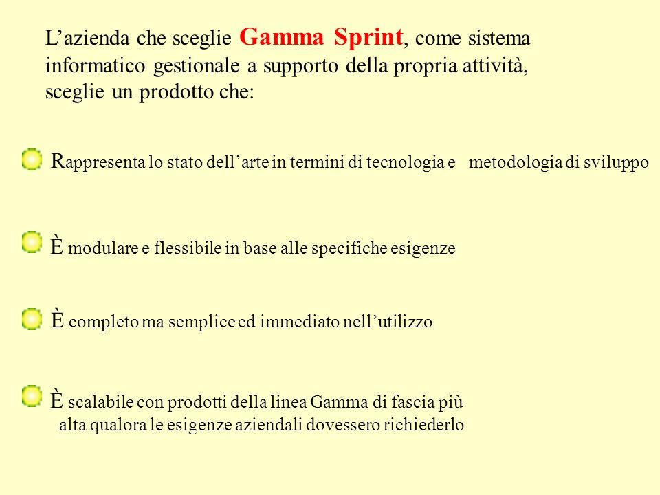 Lazienda che sceglie Gamma Sprint, come sistema informatico gestionale a supporto della propria attività, sceglie un prodotto che: R appresenta lo sta