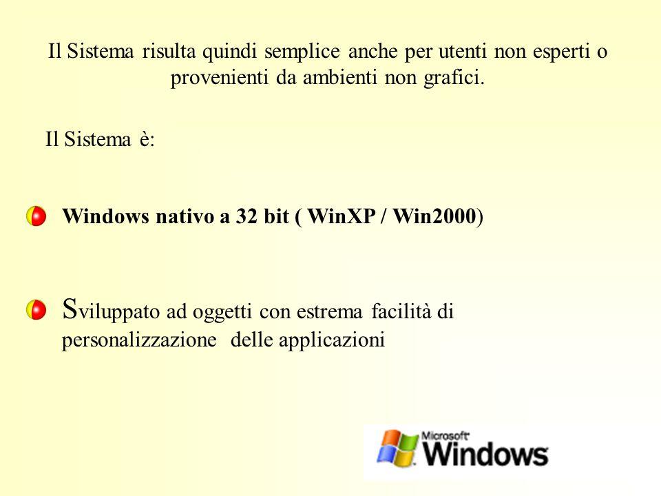 Il Sistema risulta quindi semplice anche per utenti non esperti o provenienti da ambienti non grafici. Windows nativo a 32 bit ( WinXP / Win2000) S vi