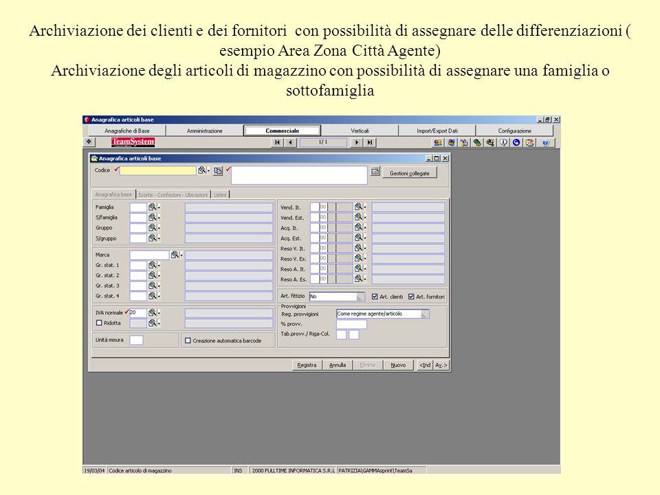 Archiviazione dei clienti e dei fornitori con possibilità di assegnare delle differenziazioni ( esempio Area Zona Città Agente) Archiviazione degli ar