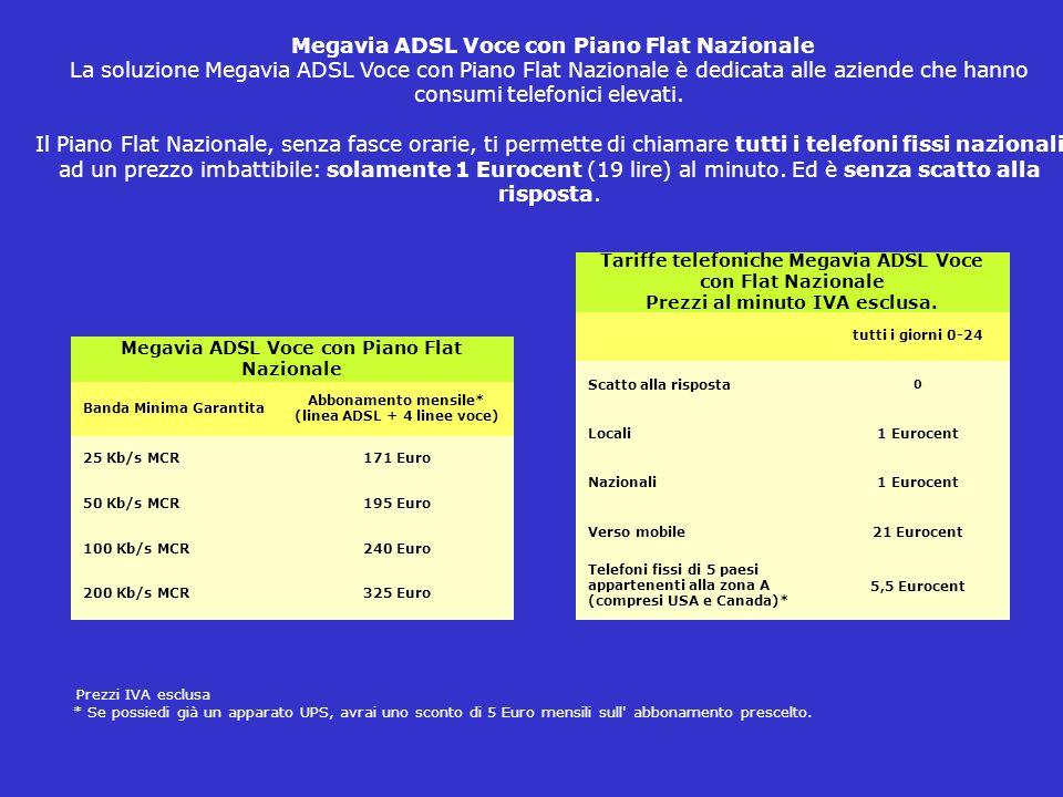 Megavia ADSL Voce con Piano Flat Nazionale La soluzione Megavia ADSL Voce con Piano Flat Nazionale è dedicata alle aziende che hanno consumi telefonici elevati.