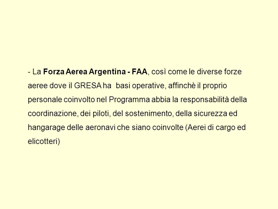 - La Forza Aerea Argentina - FAA, così come le diverse forze aeree dove il GRESA ha basi operative, affinchè il proprio personale coinvolto nel Programma abbia la responsabilità della coordinazione, dei piloti, del sostenimento, della sicurezza ed hangarage delle aeronavi che siano coinvolte (Aerei di cargo ed elicotteri)