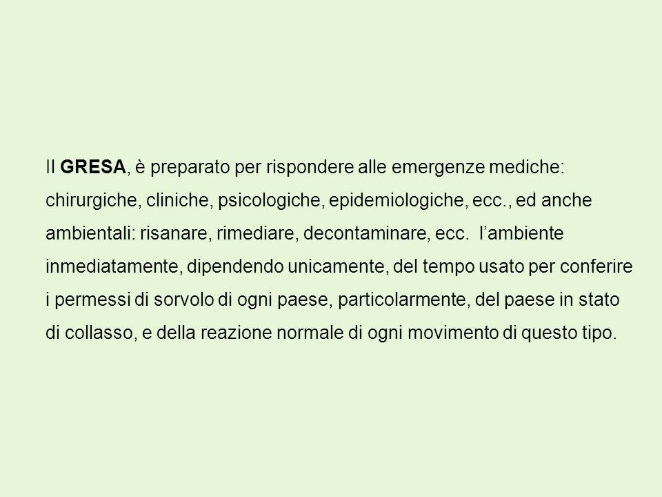 Il GRESA, è preparato per rispondere alle emergenze mediche: chirurgiche, cliniche, psicologiche, epidemiologiche, ecc., ed anche ambientali: risanare, rimediare, decontaminare, ecc.