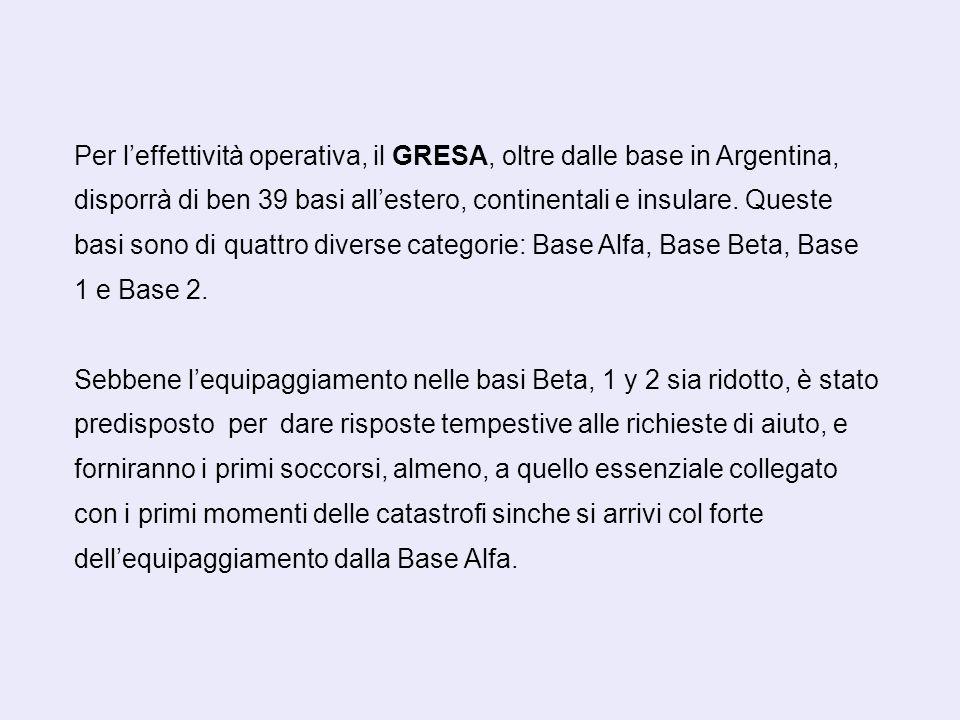Per leffettività operativa, il GRESA, oltre dalle base in Argentina, disporrà di ben 39 basi allestero, continentali e insulare.