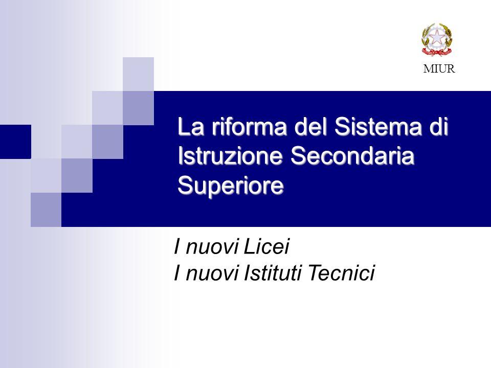 La riforma del Sistema di Istruzione Secondaria Superiore MIUR I nuovi Licei I nuovi Istituti Tecnici
