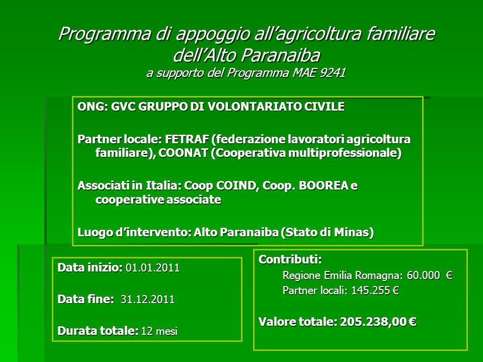 Programma di appoggio allagricoltura familiare dellAlto Paranaiba a supporto del Programma MAE 9241 ONG: GVC GRUPPO DI VOLONTARIATO CIVILE Partner locale: FETRAF (federazione lavoratori agricoltura familiare), COONAT (Cooperativa multiprofessionale) Associati in Italia: Coop COIND, Coop.