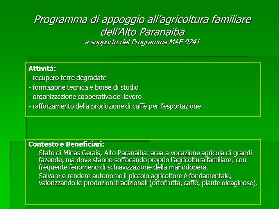 Contesto e Beneficiari: Stato di Minas Gerais, Alto Paranaiba: area a vocazione agricola di grandi fazende, ma dove stanno soffocando proprio lagricoltura familiare, con frequente fenomeno di schiavizzazione della manodopera.