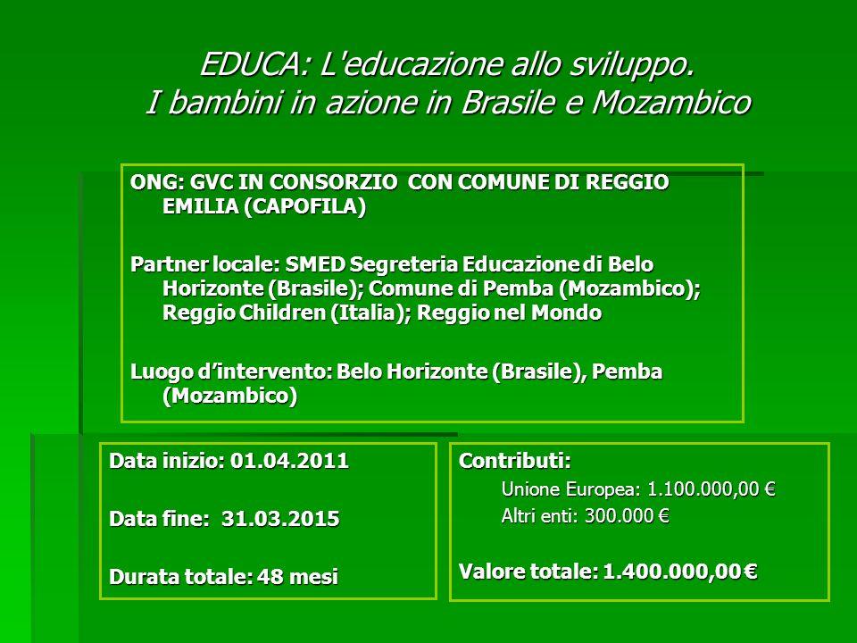 EDUCA: L'educazione allo sviluppo. I bambini in azione in Brasile e Mozambico ONG: GVC IN CONSORZIO CON COMUNE DI REGGIO EMILIA (CAPOFILA) Partner loc