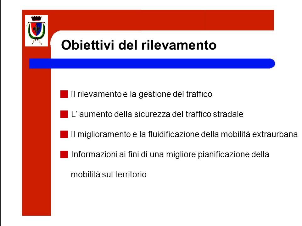Obiettivi del rilevamento Il rilevamento e la gestione del traffico L aumento della sicurezza del traffico stradale Il miglioramento e la fluidificazi