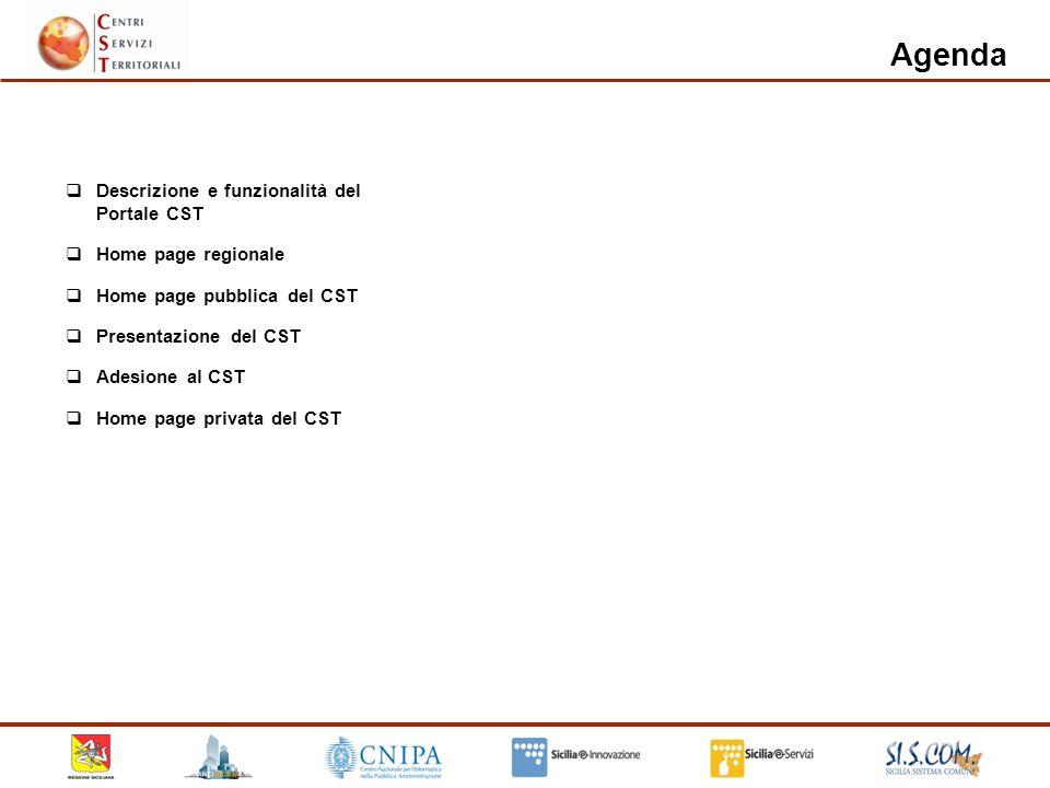 Descrizione e funzionalità del Portale CST Home page regionale Home page pubblica del CST Presentazione del CST Adesione al CST Home page privata del CST Agenda