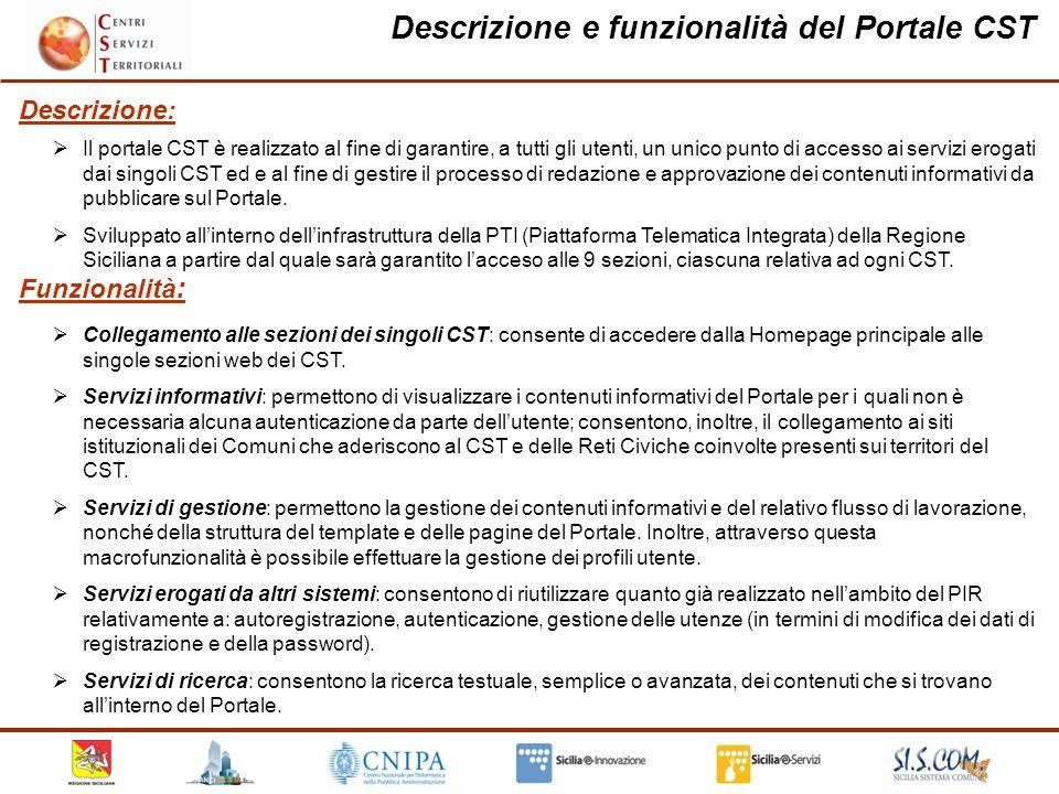 Collegamento alle sezioni dei singoli CST: consente di accedere dalla Homepage principale alle singole sezioni web dei CST.