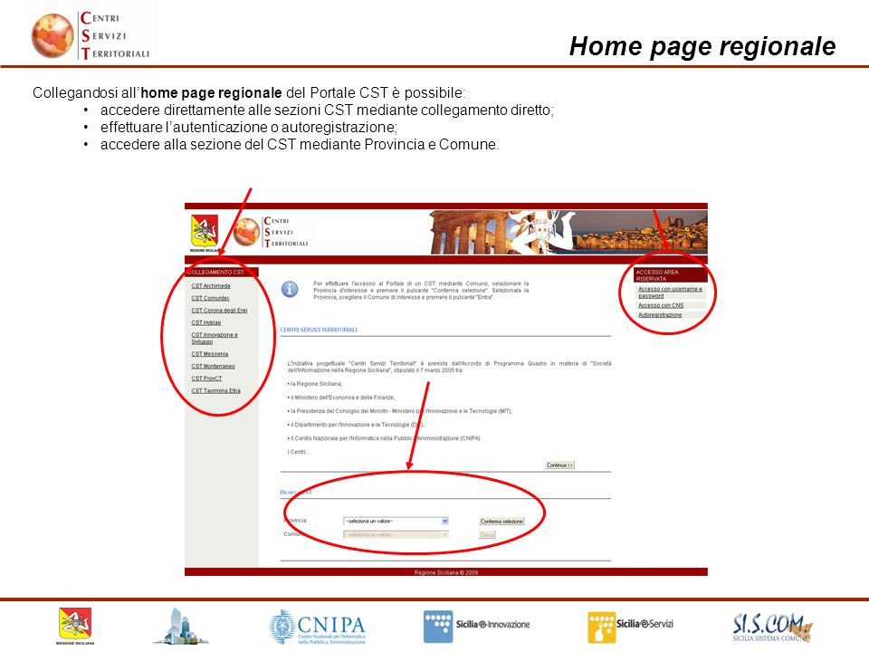 Home page regionale etc.
