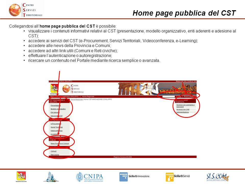 Home page pubblica del CST etc.