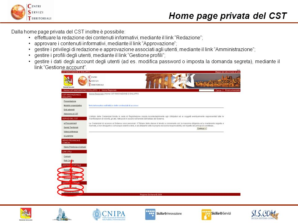 Home page privata del CST etc.