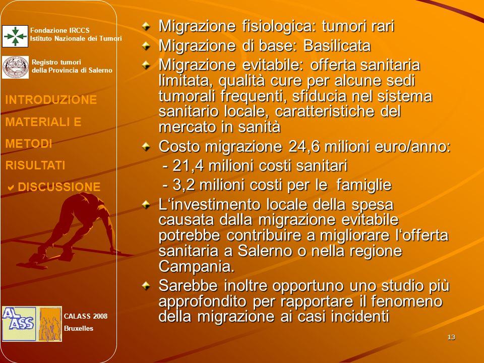 13 Migrazione fisiologica: tumori rari Migrazione di base: Basilicata Migrazione evitabile: offerta sanitaria limitata, qualità cure per alcune sedi tumorali frequenti, sfiducia nel sistema sanitario locale, caratteristiche del mercato in sanità Costo migrazione 24,6 milioni euro/anno: - 21,4 milioni costi sanitari - 21,4 milioni costi sanitari - 3,2 milioni costi per le famiglie - 3,2 milioni costi per le famiglie Linvestimento locale della spesa causata dalla migrazione evitabile potrebbe contribuire a migliorare lofferta sanitaria a Salerno o nella regione Campania.