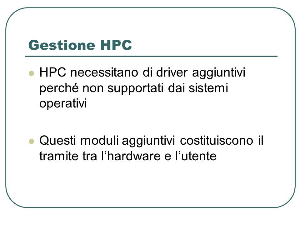 Gestione HPC HPC necessitano di driver aggiuntivi perché non supportati dai sistemi operativi Questi moduli aggiuntivi costituiscono il tramite tra lhardware e lutente
