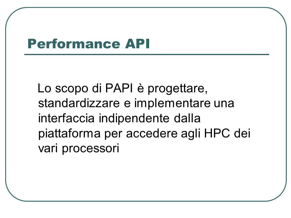 Performance API Lo scopo di PAPI è progettare, standardizzare e implementare una interfaccia indipendente dalla piattaforma per accedere agli HPC dei vari processori