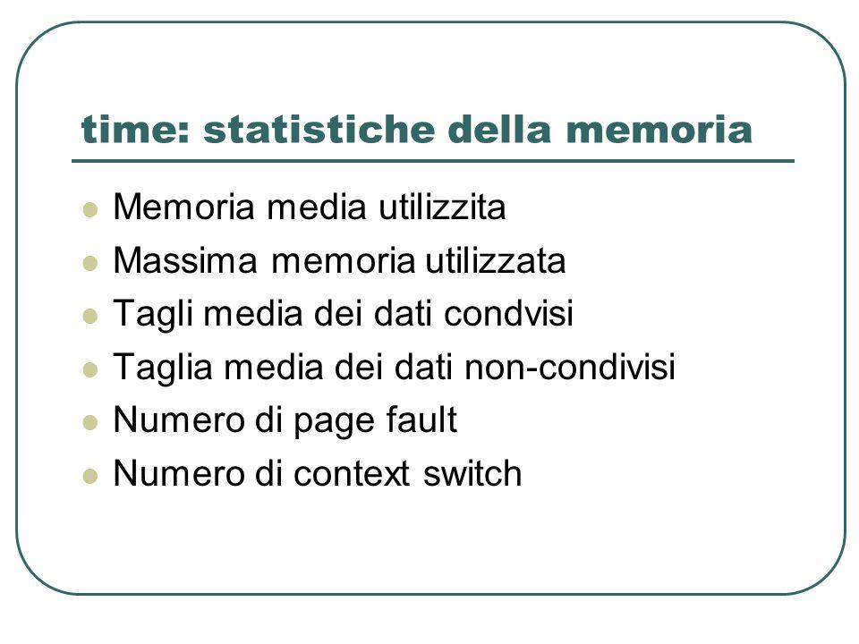 time: statistiche della memoria Memoria media utilizzita Massima memoria utilizzata Tagli media dei dati condvisi Taglia media dei dati non-condivisi