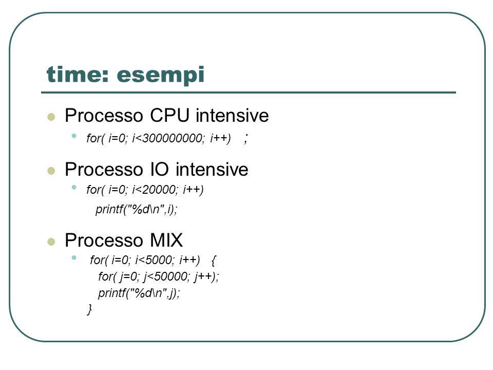 time: esempi Processo CPU intensive for( i=0; i<300000000; i++) ; Processo IO intensive for( i=0; i<20000; i++) printf(