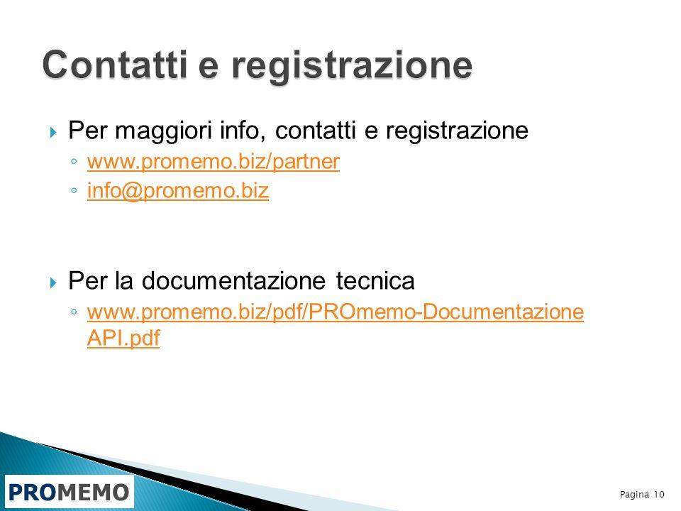PROMEMO Per maggiori info, contatti e registrazione www.promemo.biz/partner info@promemo.biz Per la documentazione tecnica www.promemo.biz/pdf/PROmemo-Documentazione API.pdf www.promemo.biz/pdf/PROmemo-Documentazione API.pdf Pagina 10