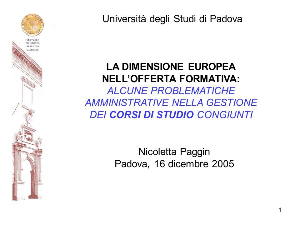 1 Università degli Studi di Padova LA DIMENSIONE EUROPEA NELLOFFERTA FORMATIVA: ALCUNE PROBLEMATICHE AMMINISTRATIVE NELLA GESTIONE DEI CORSI DI STUDIO