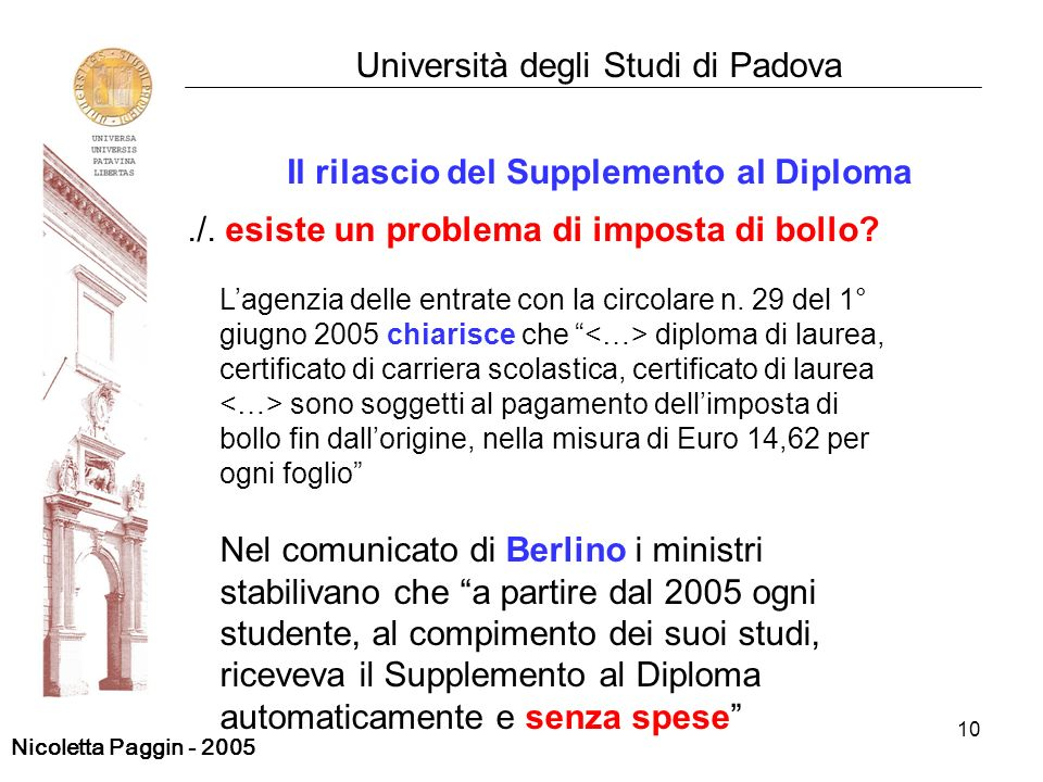 10 Università degli Studi di Padova Il rilascio del Supplemento al Diploma./. esiste un problema di imposta di bollo? Lagenzia delle entrate con la ci